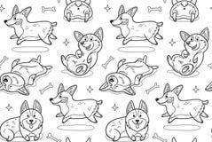 Corgi bezszwowy wzór w konturze Śmieszny tło z kreskówka psami royalty ilustracja
