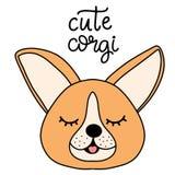Corgi dog breed lettering vector illustration in cartoon style. stock illustration