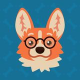 Corgi dog emotional head with glasses. Vector illustration of cute dog in flat style shows nerd emotion. Geek emoji. Smiley icon. Chat, communication, print royalty free illustration
