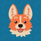 Corgi dog emotional head. Vector illustration of cute dog in flat style shows surprised emotion. Excited emoji. Smiley. Icon. Chat, communication, print Stock Photo