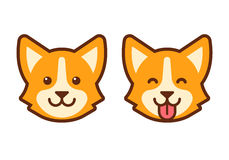 Corgi dog face icon. Cute cartoon corgi face. Flat dog head icon design Stock Image