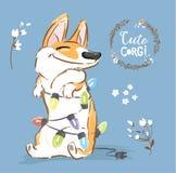 Corgi Psiej sztuki girlandy wektoru Bożenarodzeniowy plakat Szczęśliwego Fox zwierzęcia domowego charakteru nowego roku Ilustracy ilustracji