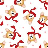 Corgi with Red Scarf on White Background. Vector Illustration.  royalty free illustration
