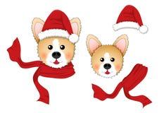 Corgi Santa Claus, Santa Hat, écharpe rouge d'isolement sur le fond blanc Illustration de vecteur illustration libre de droits
