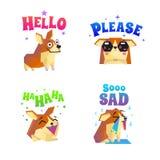 Corgi Stickers Emoticon Set stock illustration