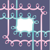 Corher frame made of realistick pink ribbon. Stock Photo
