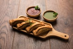 Coriandar OR Sambar vadi also known as kothimbir vada in Marathi. Served with Green chutney and tomato ketchup. selective focus Stock Photography