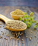 Coriander in bowl and spoon on board Royalty Free Stock Image