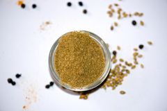 Coriander Powder. In Bowl isolated royalty free stock photos