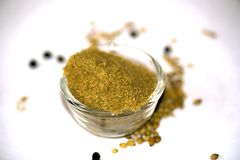 Coriander Powder. In Bowl isolated stock images