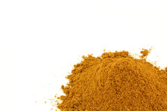 Coriander powder grind heap on white. Background Royalty Free Stock Images