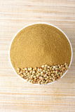 Coriander powder. Coriander seeds with coriander powder Stock Photos
