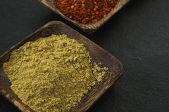 Coriander powder in wooden bowl Stock Images