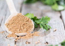 Coriander Powder on a wooden spoon Stock Image