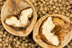 Coriander seeds background with halves of walnut on black Royalty Free Stock Photo