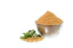 Coriander seeds, Fresh Coriander and Powdered coriander isolated on white background. Stock Image