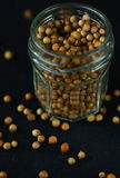 Coriander. Seeds in a jar , close up Royalty Free Stock Photography