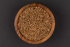 Coriander seeds in  small wooden bowl Royalty Free Stock Images