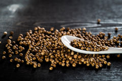 Coriander seeds. On the table Stock Photo