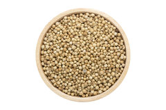 Coriander seeds in wooden bowl isolated top view on white Stock Images