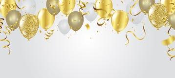 Coriandoli astratti dell'oro di celebrazione del partito del fondo sul BAC bianco royalty illustrazione gratis