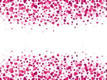 Coriandoli dei cuori dei biglietti di S. Valentino Spruzzata del cuore, confine della struttura di giorno di S. Valentino e fondo royalty illustrazione gratis