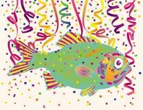 Coriandoli del partito e dei pesci Fotografia Stock