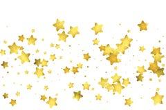 Coriandoli della stella Fondo casuale dei coriandoli dell'oro illustrazione di stock