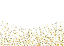 Coriandoli di caduta delle stelle d'oro isolati su fondo bianco Partito festivo di progettazione dorata, celebrazione di complean illustrazione vettoriale