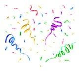 Coriandoli di carta di colori Decorazione della festa a sorpresa di compleanno, fiamma di volo di carnevale e carte di caduta fes illustrazione di stock