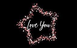 Coriandoli di carta rosa di giorno di biglietti di S. Valentino Immagine Stock Libera da Diritti