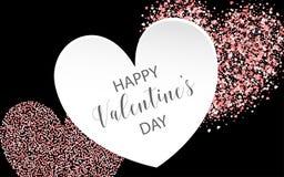 Coriandoli di carta rosa di giorno di biglietti di S. Valentino Fotografie Stock Libere da Diritti