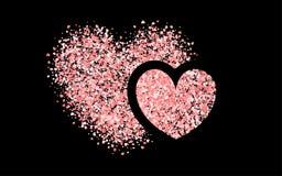 Coriandoli di carta rosa di giorno di biglietti di S. Valentino Immagini Stock Libere da Diritti