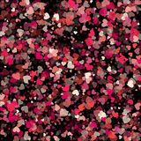 Coriandoli di carta rossi e rosa di vettore di forma del cuore isolati sul nero Fotografie Stock Libere da Diritti