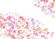 Coriandoli di colore di Rosa con le forme del cuore Fondo rosa romanzesco per il giorno di biglietti di S. Valentino, illustrazione di stock