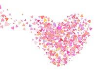 Coriandoli di colore di Rosa con le forme del cuore Fondo rosa romanzesco per il giorno di biglietti di S. Valentino, royalty illustrazione gratis