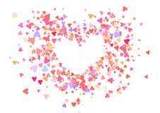 Coriandoli di colore di Rosa con le forme del cuore Fondo rosa romanzesco per il giorno di biglietti di S. Valentino, illustrazione vettoriale