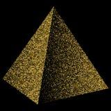 Coriandoli dorati del triangolo della piramide Illustrazione isolata sul nero royalty illustrazione gratis