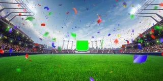 Coriandoli e lamé di giorno dello stadio con i fan della gente 3d rendono l'illustrazione nuvolosa Immagine Stock