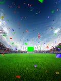 Coriandoli e lamé di giorno dello stadio con i fan della gente 3d rendono l'illustrazione nuvolosa Immagini Stock