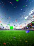 Coriandoli e lamé di giorno dello stadio con i fan della gente 3d rendono l'illustrazione nuvolosa Fotografia Stock