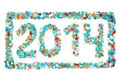 Coriandoli e profilo di carnevale 2014 isolati Fotografie Stock Libere da Diritti