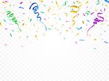 Coriandoli isolati della decorazione del partito La fiamma celebrata incarta le decorazioni Vettore variopinto di molti serpentin illustrazione di stock