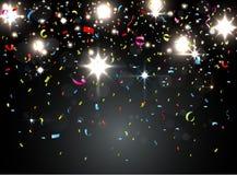 Coriandoli variopinti con luce sul fondo di notte royalty illustrazione gratis