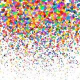 Coriandoli variopinti isolati su fondo quadrato trasparente Natale, compleanno, concetto del partito di anniversario confetti