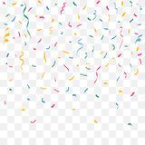 Coriandoli variopinti Nastri di colore di celebrazione Decorazione di festival con gli scintilli brillanti di caduta Vettore illustrazione di stock
