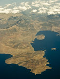 Corinth from air 1. Bird view of greek gulf of Corinth Stock Images