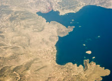 Corinth from air 2. Bird view of greek gulf of Corinth Royalty Free Stock Image