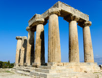 Corinth antico - tempiale di Apollo immagini stock libere da diritti