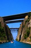 Corinth canal by boat Royalty Free Stock Photos